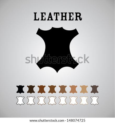 Leather Mark in Different Colors and Outlines  - stock vector