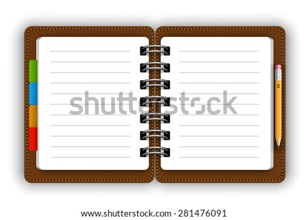 Leather opened notepad with pencil vector - stock vector