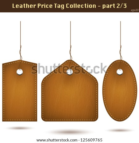 Leather price tag collection 2. Isolated on white. Vector