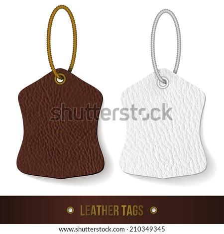 Leather tags set. Vector illustration.  - stock vector