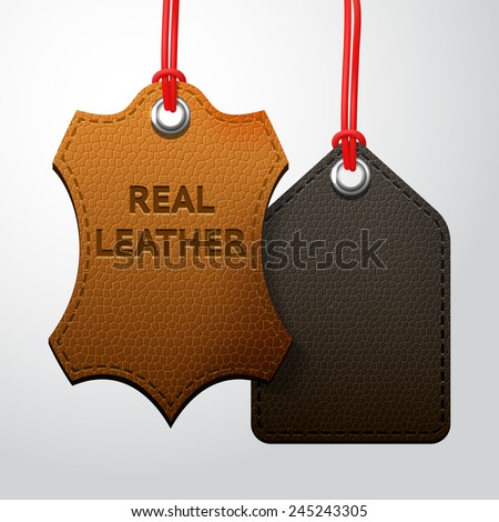 Leather texture tags set, vector set with two black and brown hanging labels - stock vector