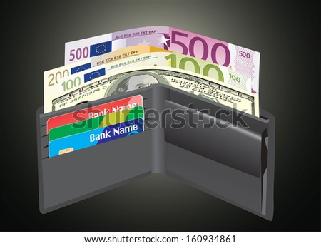 Leather wallet,inside, with bank cards and money. vector