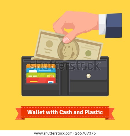 Leather wallet with some dollars and credit cards. Male hand putting money to it. Flat style vector icon. - stock vector