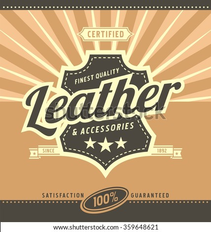Leather work retro poster design. Vintage leather advertise concept. Promotional ad template. - stock vector