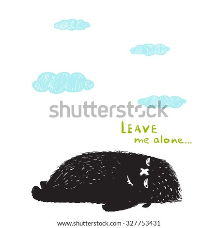 Leave Me Alone Lying Black Little Monster and Clouds. Sweet kids fictional melancholy character picture. Vector illustration. - stock vector