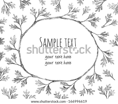 Leaves and branches wreath. Vectorized pencil drawing. File with clipping mask, easily editable.  - stock vector