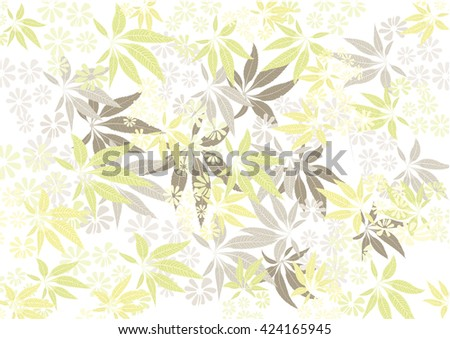 leaves and flower background pattern  yellow color