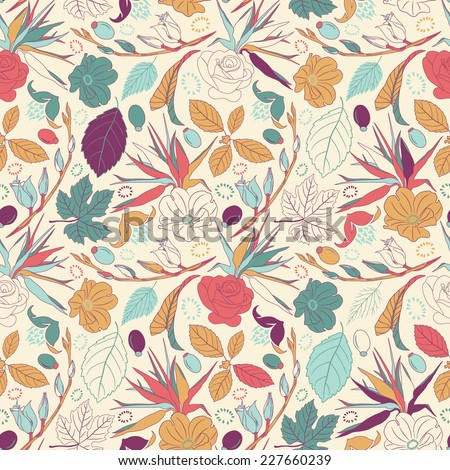 leaves and flowers in seamless vector pattern - stock vector