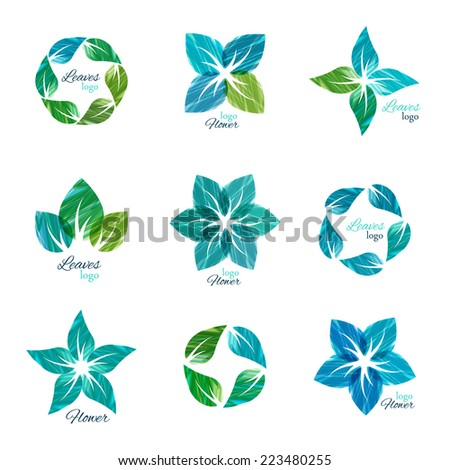 Leaves and flowers logo collection. Set of natural icons, leaf shapes, logo set  - stock vector