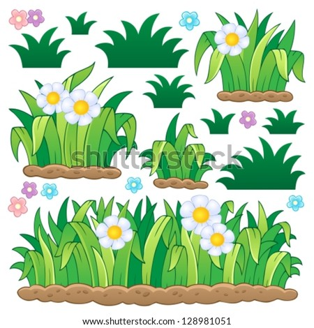 Leaves and grass theme image 2 - vector illustration.