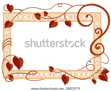 Leaves and Ornate Frame - stock vector
