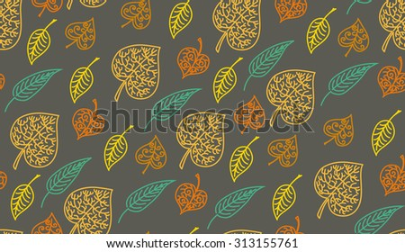 Leaves autumn pattern. In retro style. It contains simple forms of leaves. Dark color version - stock vector