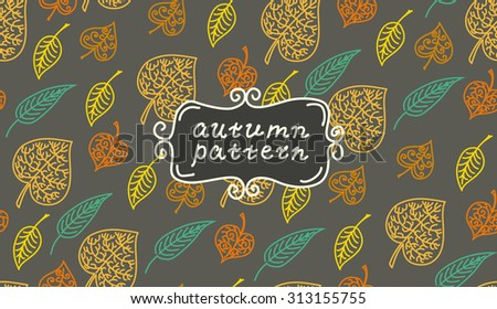 Leaves autumn pattern. In retro style. It contains simple forms of leaves. Dark color version. Sign autumn pattern - stock vector