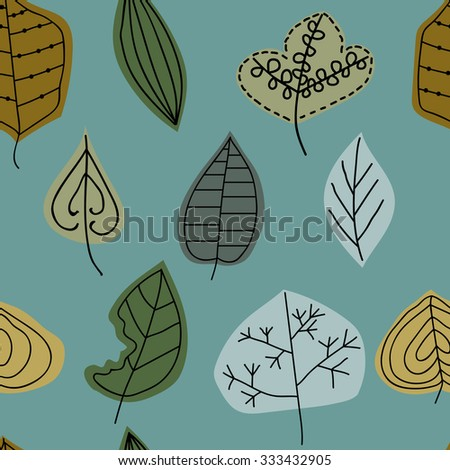 Leaves, background of different leaves vector - stock vector