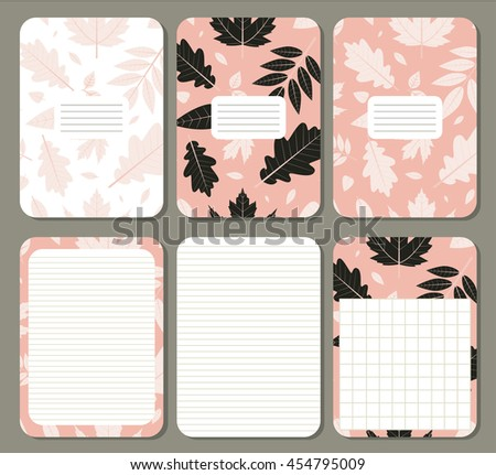 Leaves. Cute pages for notes with cute  leaves. Notebooks, decals, diary, cards, school accessories. Cute design with seamless patterns with leaves.  - stock vector