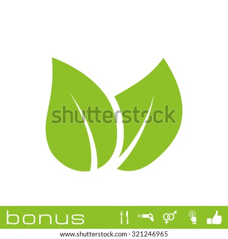 leaves eco icon - stock vector