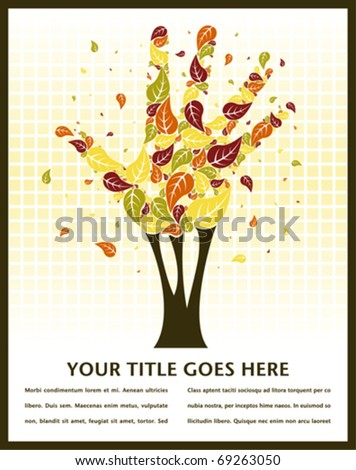 Leaves falling from a hand shaped tree with space for text.