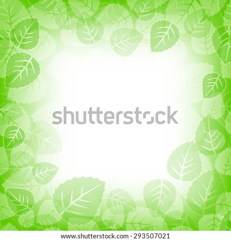 Leaves frame background with copy space - stock vector
