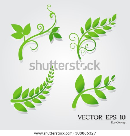 leaves,Green  leaves ,Eco concept,Green  plant ,leaves  vector ,plant  vector Green  plant, green leaves , nature,silhouettes of leaves,silhouettes of trees, tree branch - stock vector