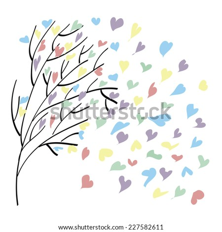 leaves in the form of colorful hearts on Valentine's Day - stock vector