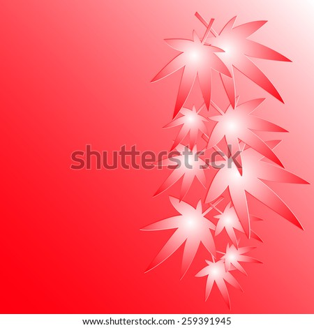 Leaves of Japanese maple on the red background, vector, eps 10 - stock vector