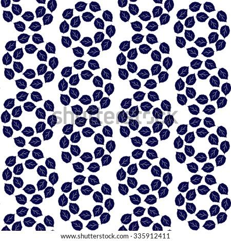 leaves on white background vector pattern  - stock vector