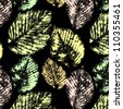 Leaves prints on black seamless pattern, vector - stock vector
