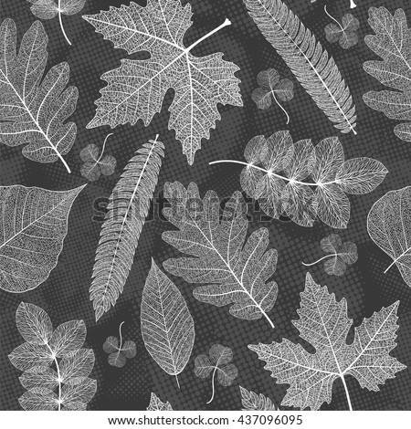 Leaves seamless pattern background. Vector illustration. - stock vector
