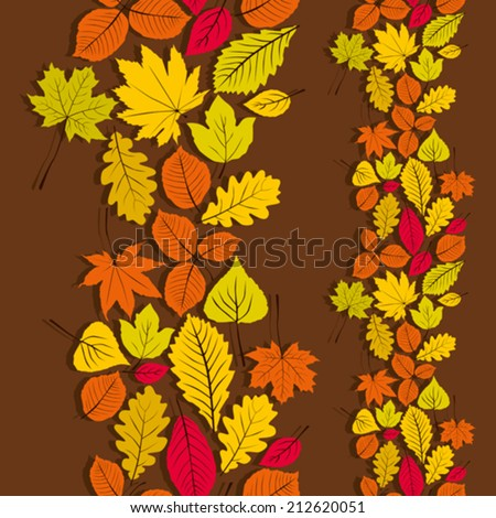 Leaves seamless wallpaper background, vector natural endless pattern, autumn background.