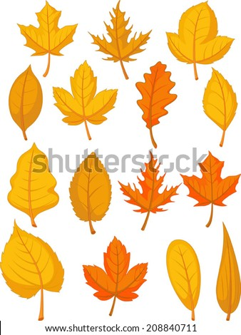 Leaves Set - Red Autumn Leaves - stock vector