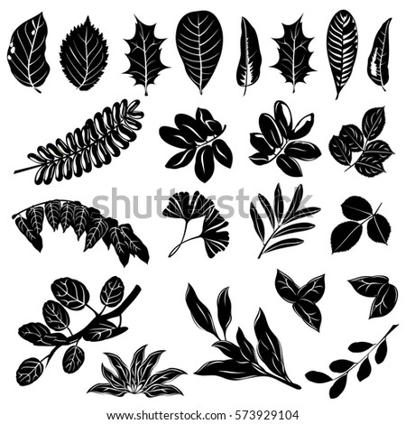 Leaves Silhouettes Trees Bushes Set Hand Stock Vector ...