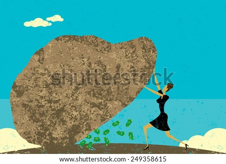 Leaving No Stone Unturned A businesswoman leaving no stone unturned to find new revenue. The woman and stone is on separate layer from the background. - stock vector