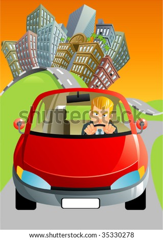 leaving the city - stock vector
