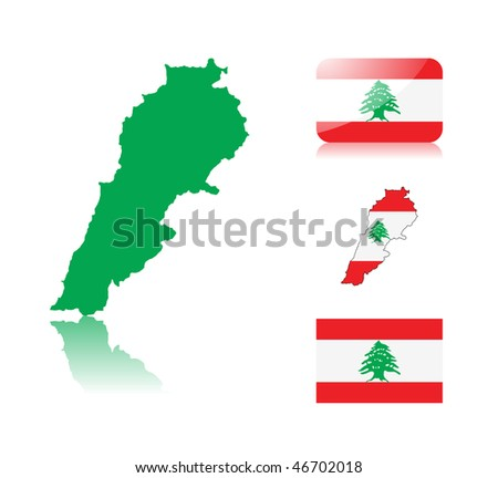 Lebanese  map including: map with reflection, map in flag colors, glossy and normal flag of Lebanon. - stock vector