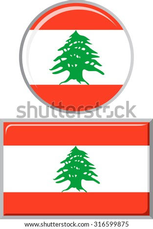 Lebanese round and square icon flag. Vector illustration Eps 8.