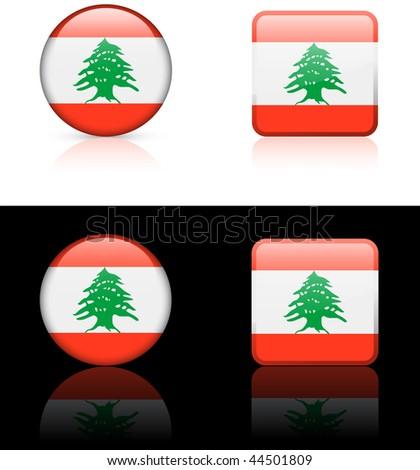 lebanon Flag Buttons on White and Black Background Original Vector Illustration - stock vector