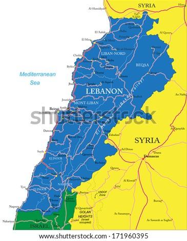 Lebanon map - stock vector