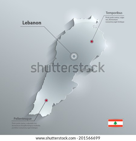 Lebanon map flag glass card paper 3D vector - stock vector