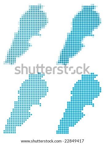 Lebanon map mosaic set. Isolated on white background. - stock vector
