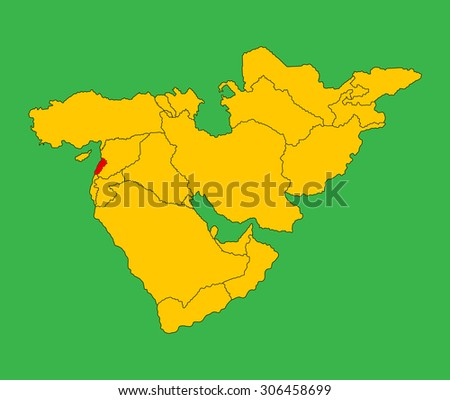 Lebanon vector map silhouette illustration isolated on Middle east vector map. - stock vector