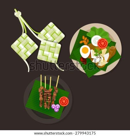 lebaran ketupat idul fitri ied food sate opor ayam - stock vector