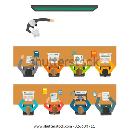 Lecturer standing at the chalkboard and giving a lecture in front of the pupils sitting at the desks in classroom, vector illustration, top view, isolated on white background. - stock vector