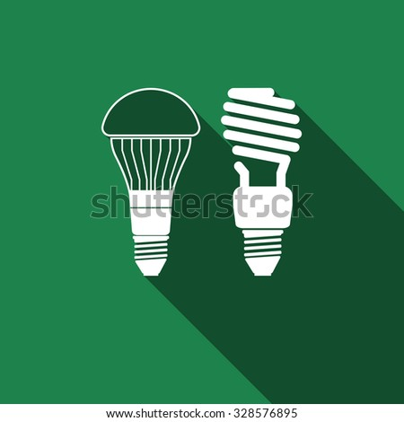 LED bulbs and fluorescent light bulb icon with long shadow. Vector illustration - stock vector