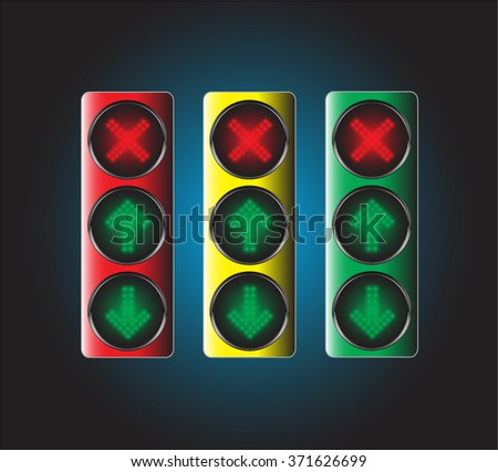 LED control button with arrow sign ,Vector illustration