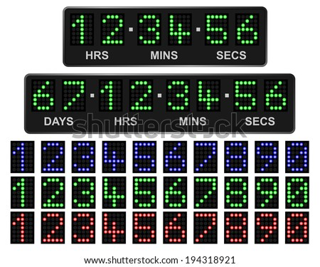 LED countdown timer. Days, hours, minutes, seconds  - stock vector