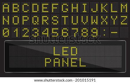 LED digital font on black background, vector illustration - stock vector