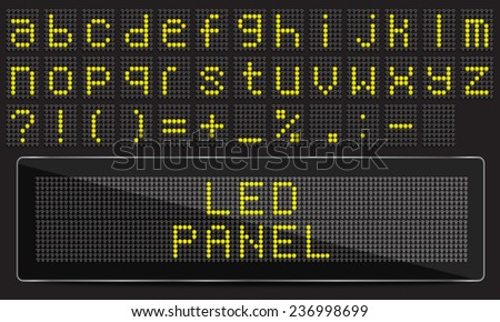 LED digital font on black background, vector illustration