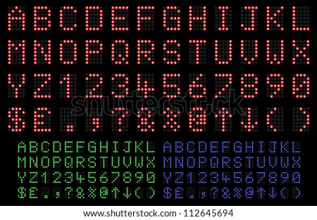 LED Display font numbers and letters in red, green and blue. Vector illustration