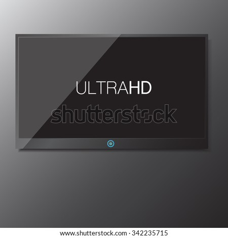 LED / LCD TV screen hanging on grey background isolate vector illustration eps 10 - stock vector