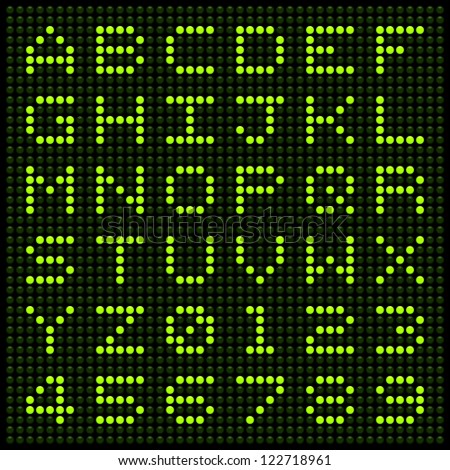 LED Letters and Numbers on a Green Dot Matrix Grid